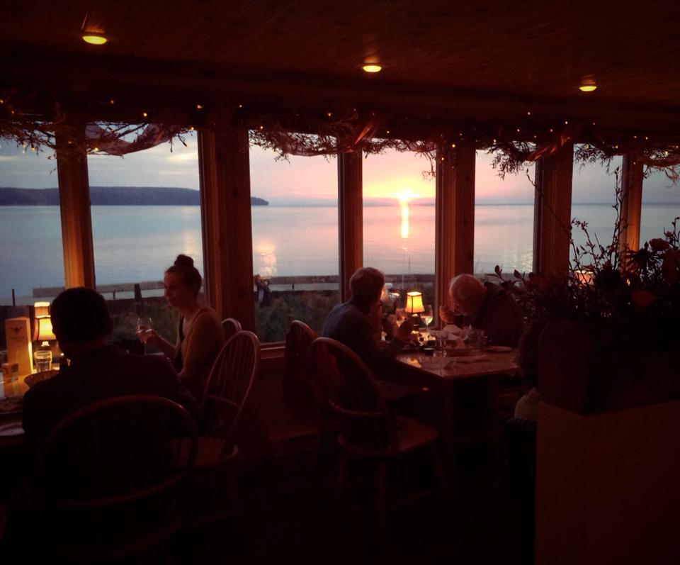Shoreline sunset on the porch