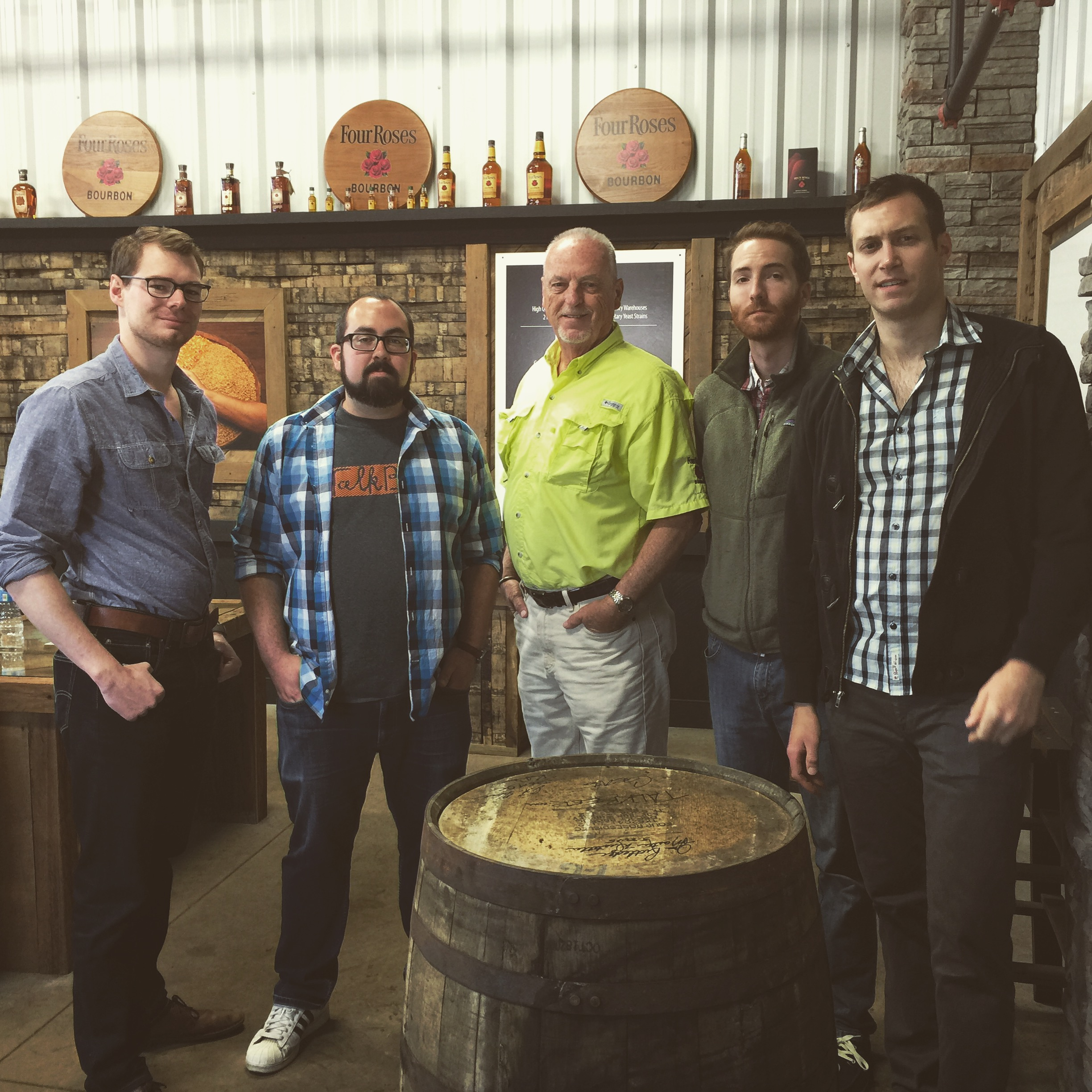 From left, me, Talk Beer Gene (my best man), Jim Rutledge (Four Roses Master Distiller), Doctor Dan, and Keith.