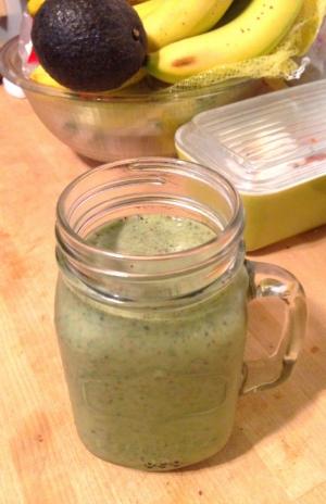 Kale, banana, blueberries, goji berries, plain yogurt, and coconut milk