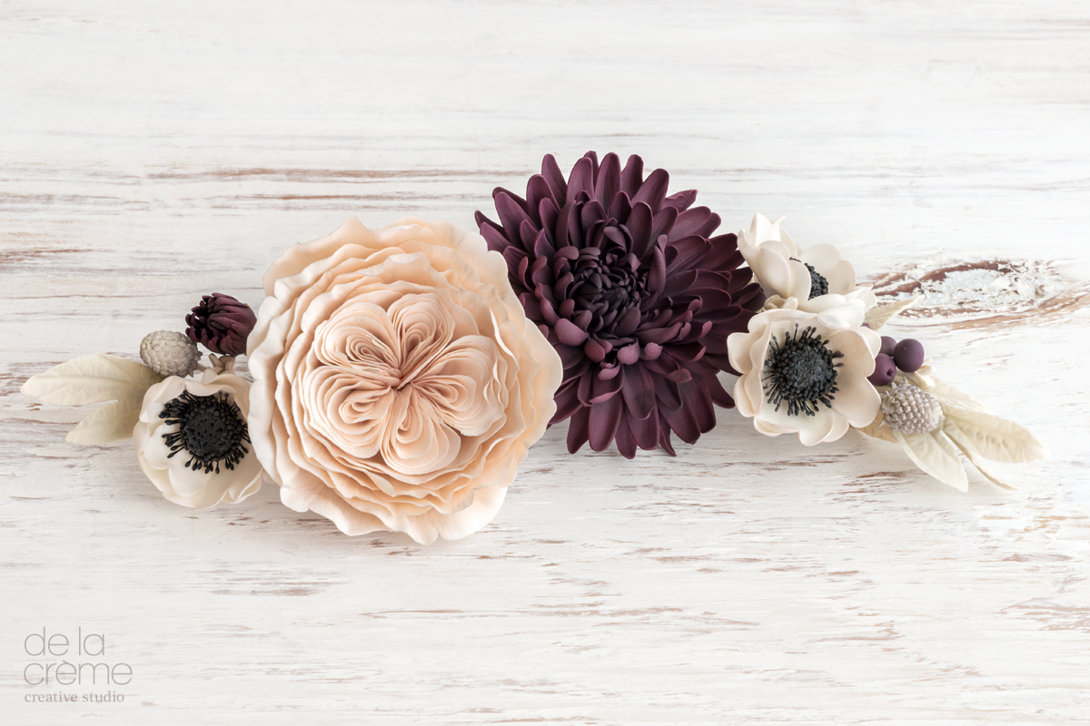 Sugar Flowers: David Austin Roses done in dusty blush, Dark Dahlias and Black-centered Anemonies.