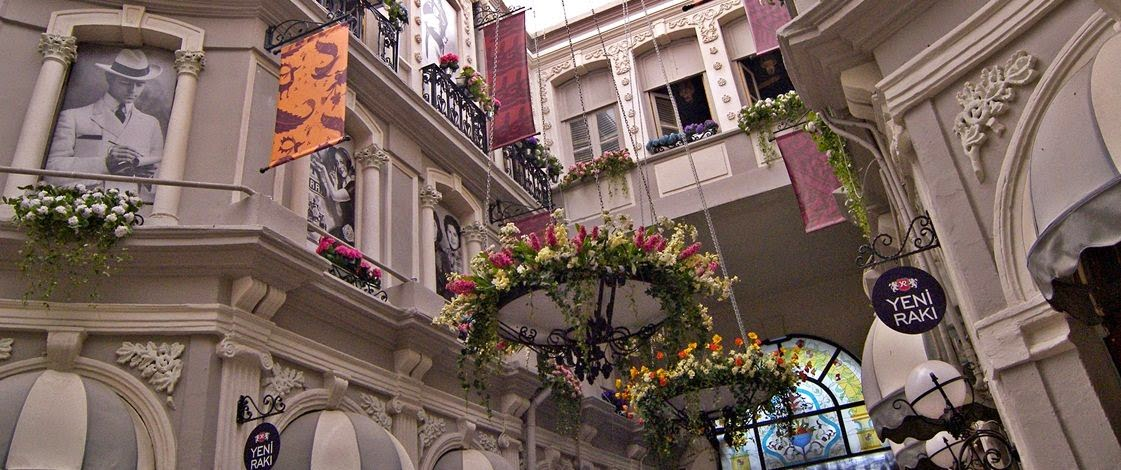 Looking up at Cicek Pasaj. Photo via Istanbul.com