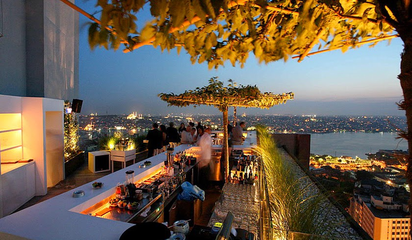 The outdoor bar space at Mikla, atop the Marmara Pera Hotel.
