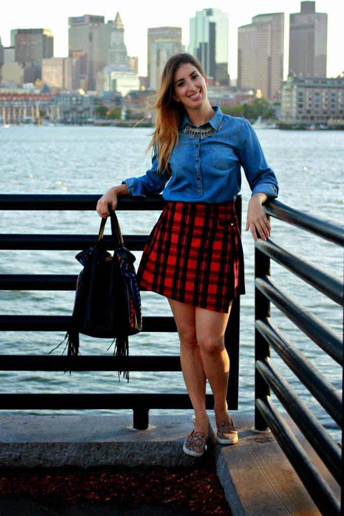 J Crew denim shirt, Kate Spade Saturday skirt, Osmanli Taki necklace