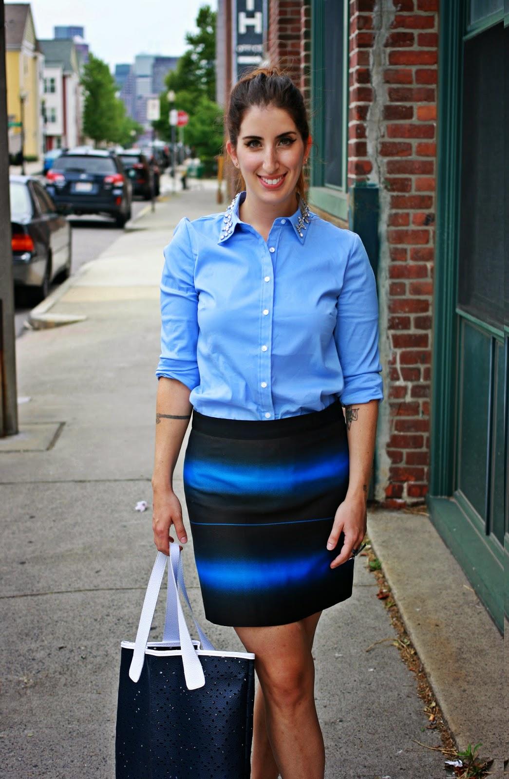 Top, Ann Taylor. Skirt, Marc Jacobs. Gladiators, Dolce Vita at Bloomingdales. Tote, Neiman Marcus.