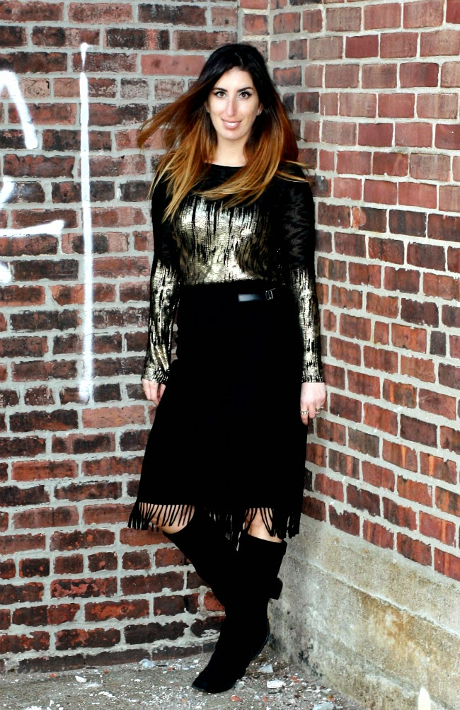 Lucy Paris Sweater, Vintage Skirt, Cole Haan boots