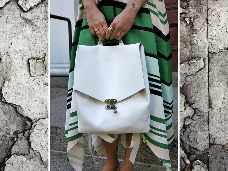 Wearing the   Candymint Dress by Troubador at Anthropologie  , vintage jewelry, anda Gina deWolfe Wolfepack bag.