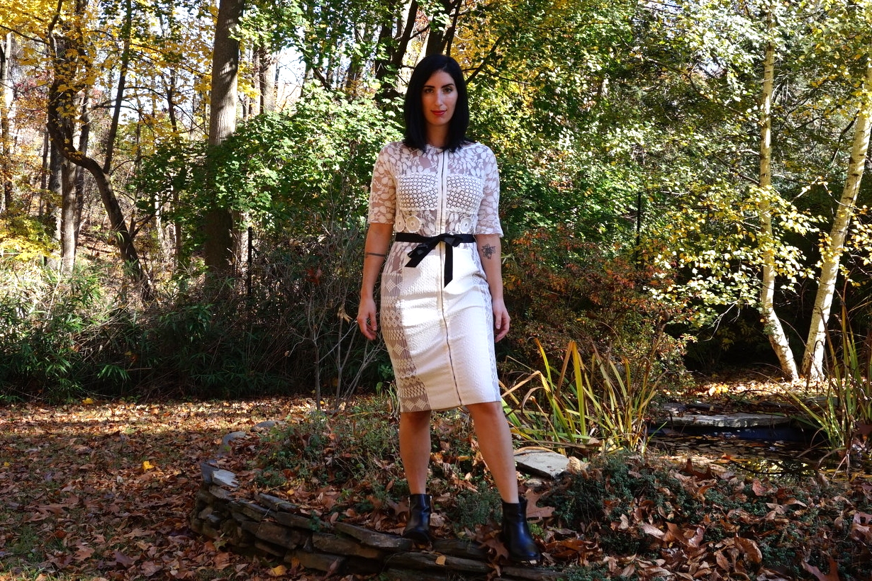 Carissima Sheath , $258 (c/o Anthropologie), Double-zip Chelsea Boots, Urban Outfitters. (  Similar here . )