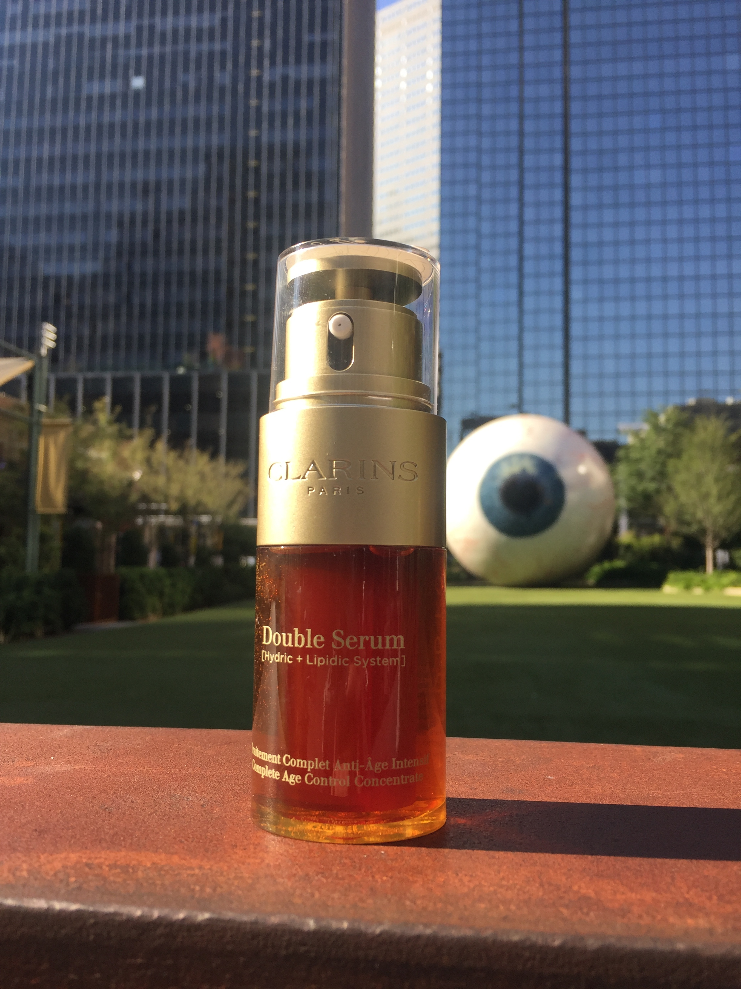 Clarins Double Serum  in front of the Dallas Eye, right by The Joule Hotel.