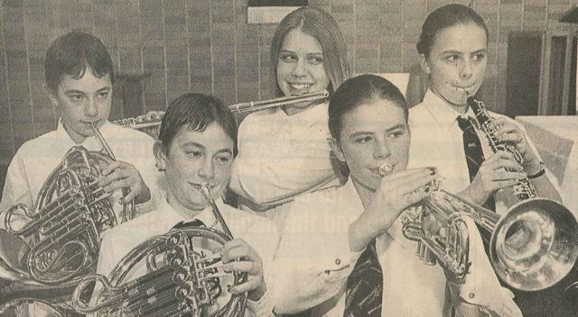 Liam Doyle (left), brother Rory, Christina Howie, Anita Eccleston and sister Elizabeth were members of the Kamloops Symphony Orchestra's Junior Wind Ensemble back in 1997.
