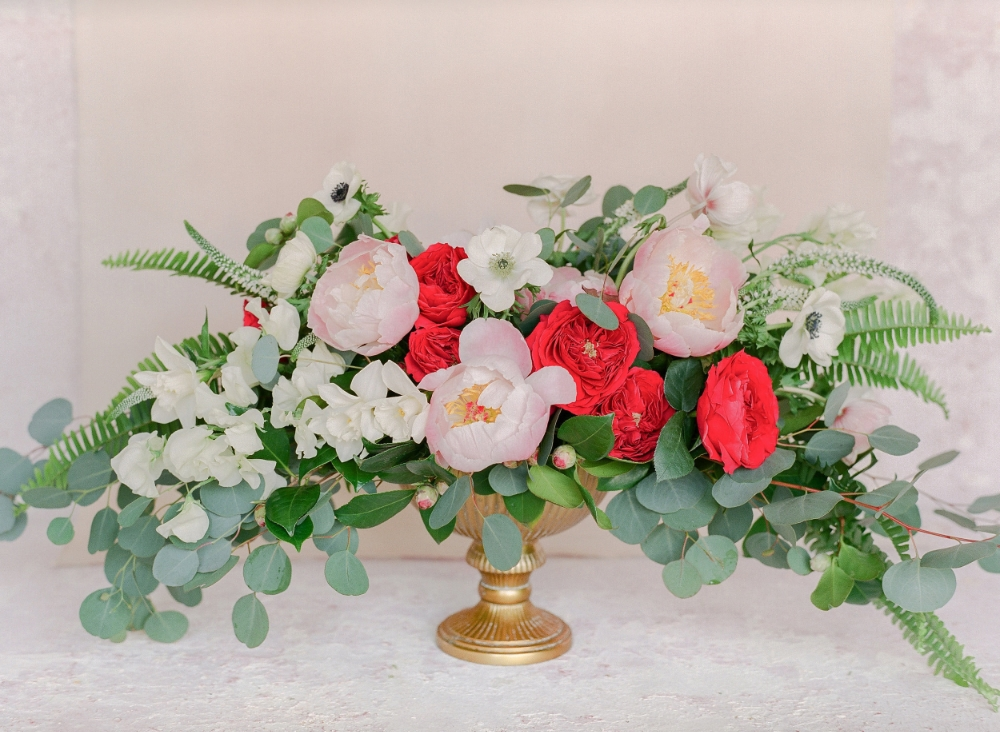 Peony and Rose Centerpiece