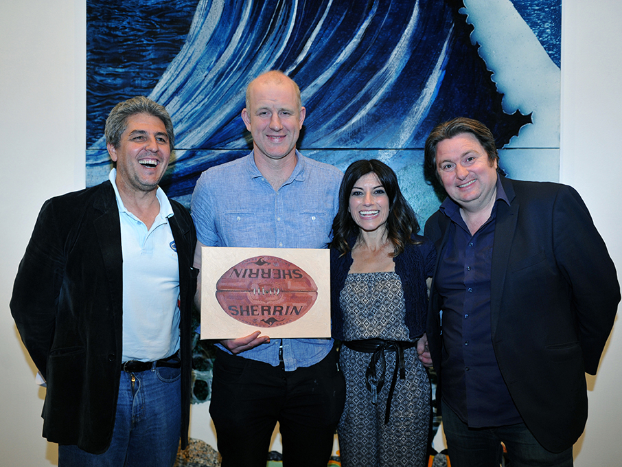 The sport team: John Harms, Tony Wilson.& Angela Pippos. With MC Dave O'Neill.