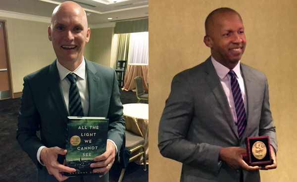 Bryan Stevenson (right) holding his Carnegie Medal for non fiction