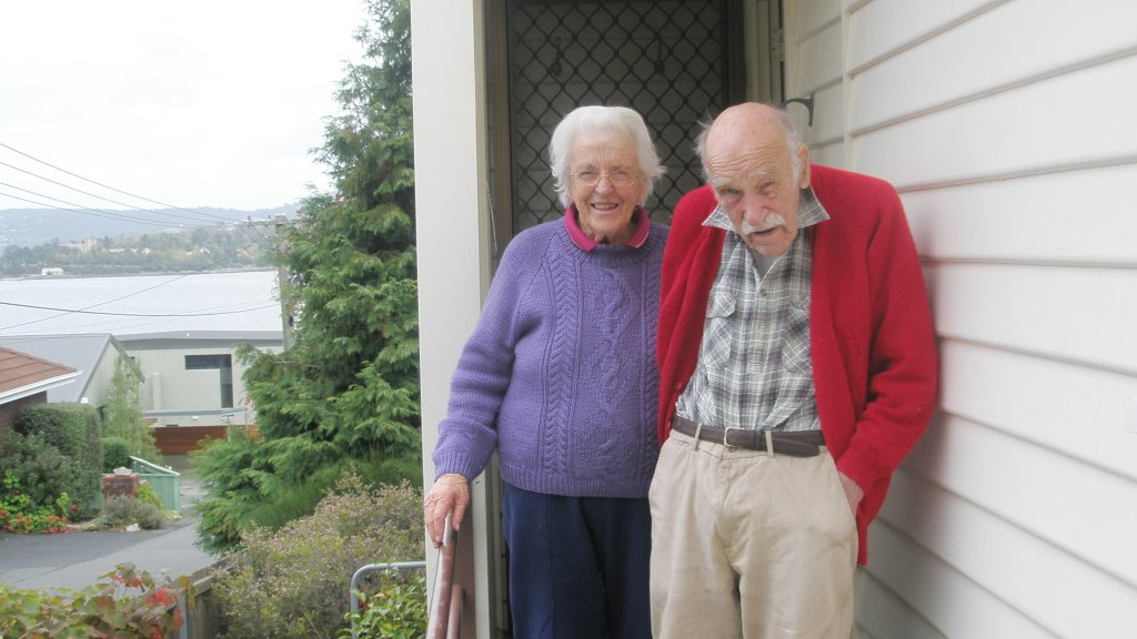 Helen and Archie Flanagan, Martin's parents, Lindisfarne, Tasmania