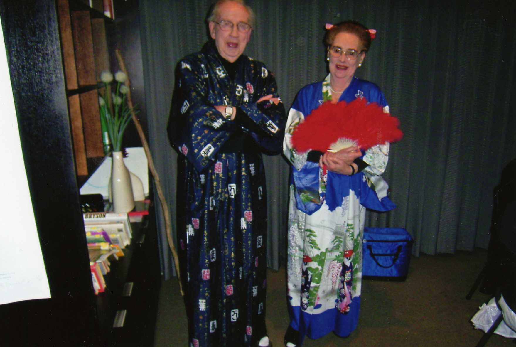 Kathleen, wearing the kimono featured in this story, with Adrian.