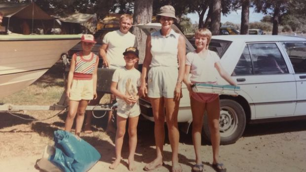 Ruth, Doug, David, Barbara and Kerstin Callum set up camp at Emu Park