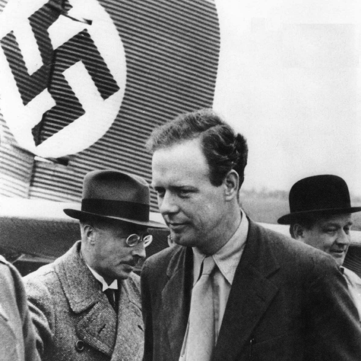 Lindbergh visiting Germany during the 1930s. During his outspoken anti war isolationism with 'America First', Lindbergh was accused of being a fascist sympathiser.