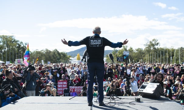 Bob Brown addressing same rally, photo AAP