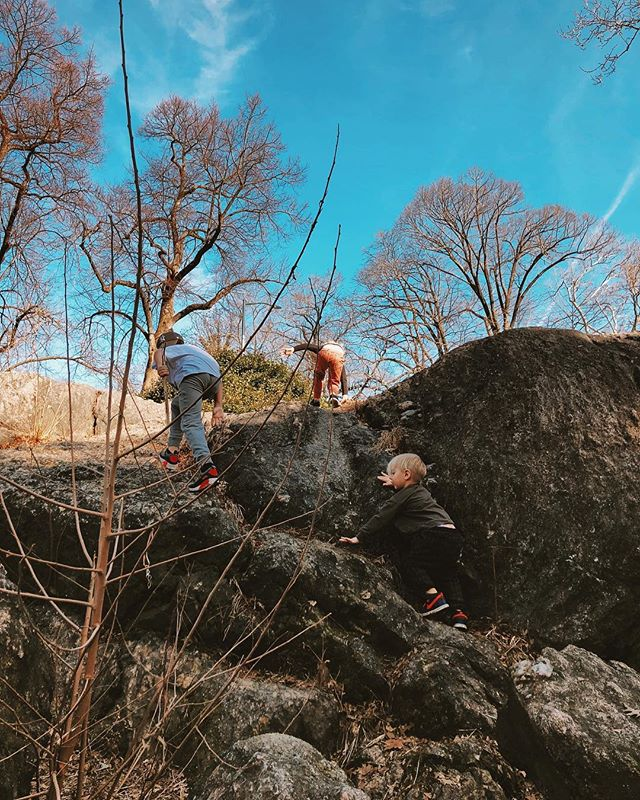 we needed to climb hills throw rocks and break sticks so naturally we went to the city