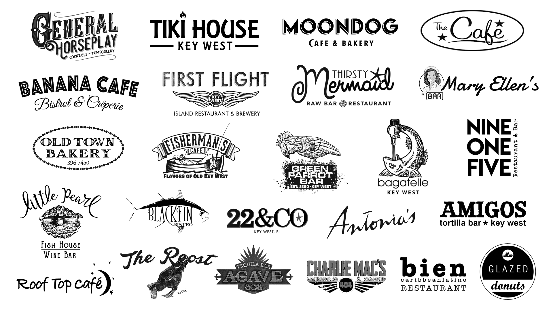 Logos of Wonderdog Studios' Bar & Restaurant client list. Includes: General Horseplay, Tiki House Key West, Moondog Cafe & Bakery, The Cafe, Banana Cafe, First Flight Island Restaurant & Brewery, Thirsty Mermaid Raw Bar & Restaurant, Mary Ellen's Bar, Old Town Bakery, Fisherman's Cafe, Green Parrot Bar, Bagatelle Key West, Nine One Five Restaurant & Bar, Little Pearl Fish House & Wine Bar, Black Fin Bistro, 22 & Co Key West, Antonia's Restaurant, Amigos Tortilla Bar Key West, Roof Top Cafe, The Roost, Agave 308 Tequila Bar, Charlie Mac's, Bien Caribbean Latino Restaurant, Glazed Donuts