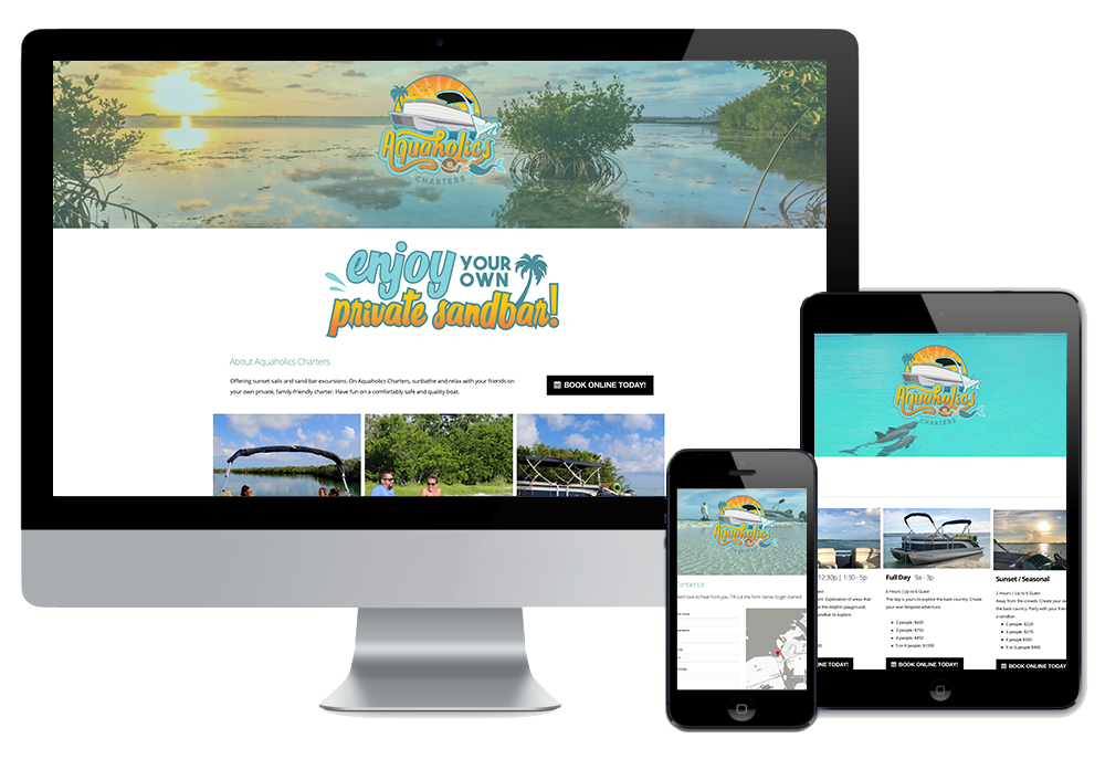 Click to visit the website for Aquaholics Charters created by Wonderdog Studios