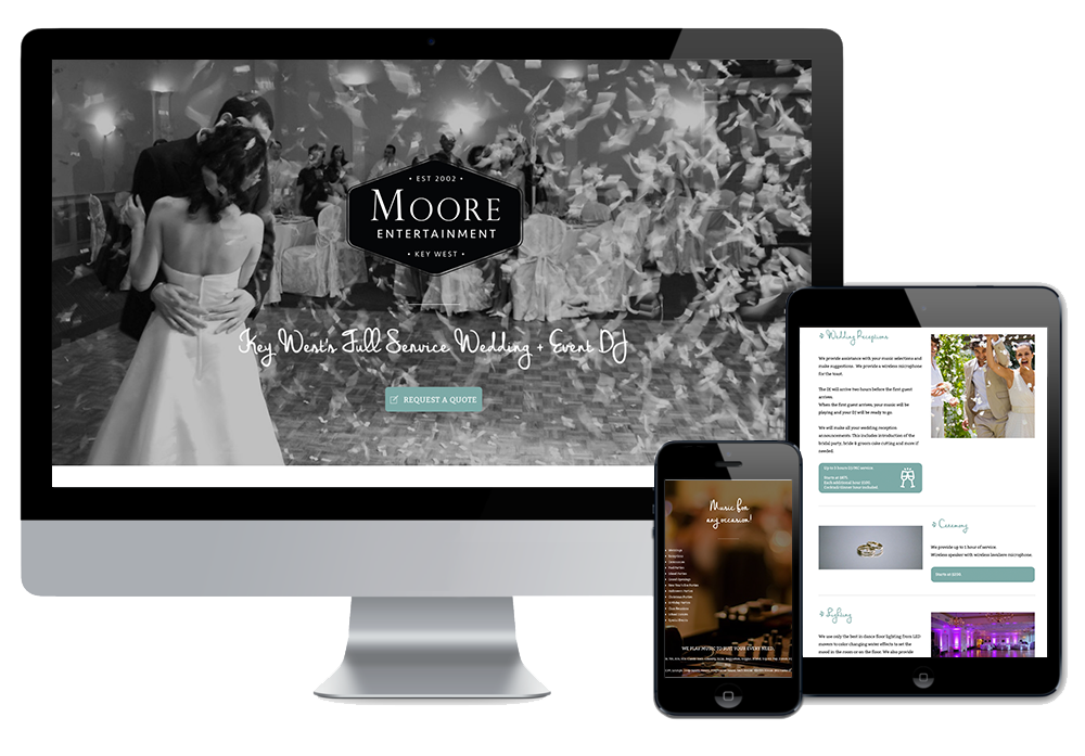 Click to visit the website for DJ Aaron Moore created by Wonderdog Studios
