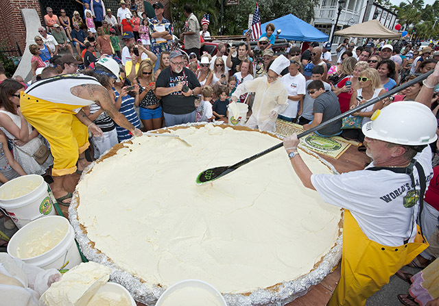 click to read full article - Crew baking worlds largest key lime pie at key lime festival