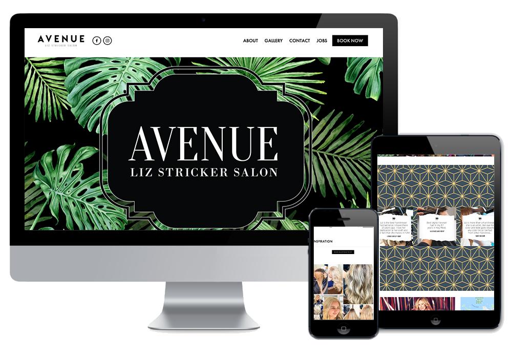 Click to visit the website for Avenue Liz Stricker Salon created by Wonderdog Studios