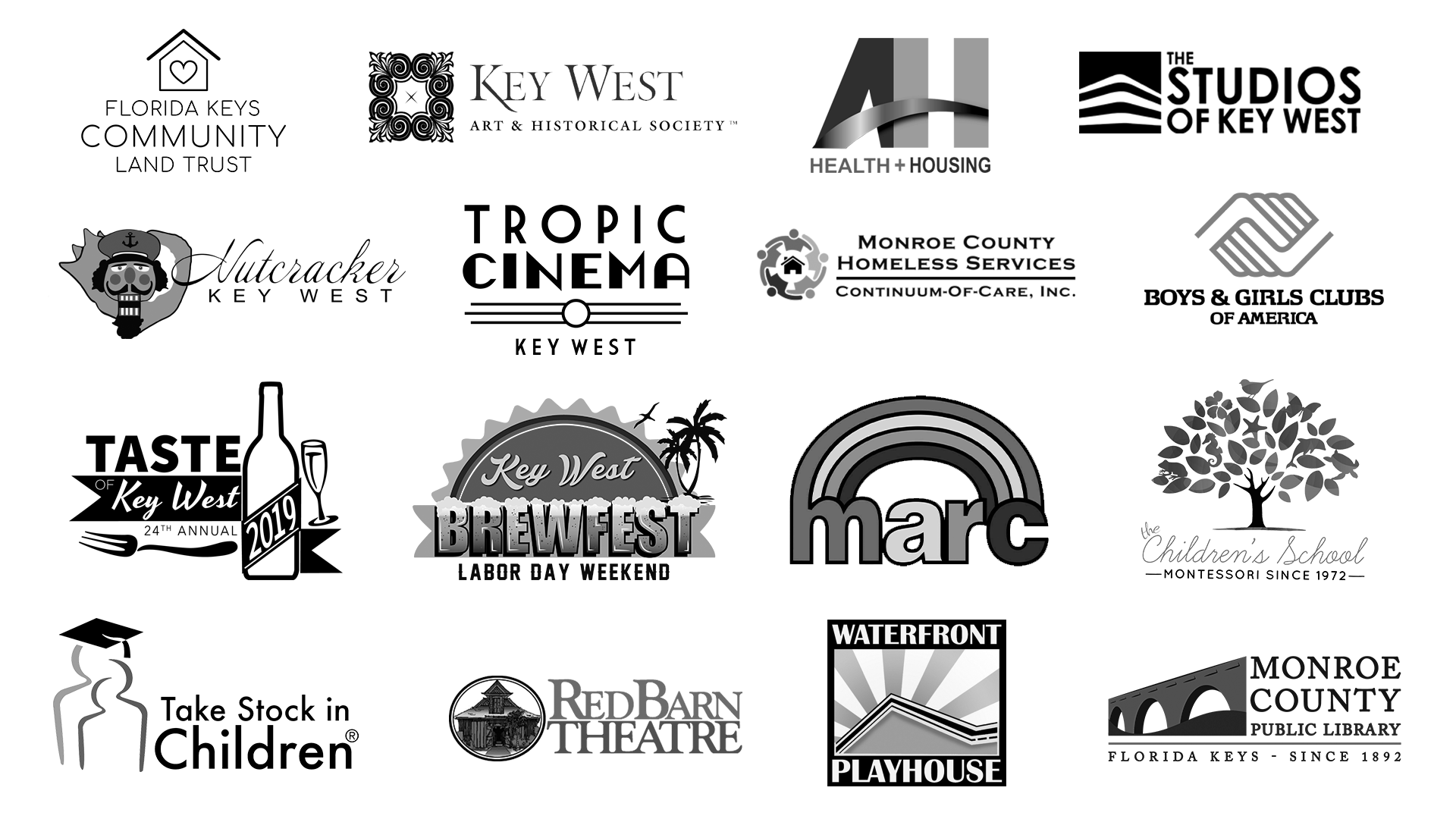Logos of Wonderdog Studios' Community and Non-Profit client list. Includes: Florida Keys Community Land Trust, Key West Art & Historical Society, AHI of Key West, The Studios of Key West, Nutcracker Key West, Tropic Cinema Key West, Monroe County Homeless Services Continuum of Car, Boys & Girls Clubs of America, Taste of Key West, Key West Brewfest, Marc House, Montessori Children's School, Take Stock in Children, Red Barn Theatre, Waterfront Playhouse, Monroe County Public Library