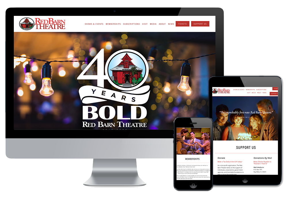 Click to visit the website for Red Barn Theatre created by Wonderdog Studios