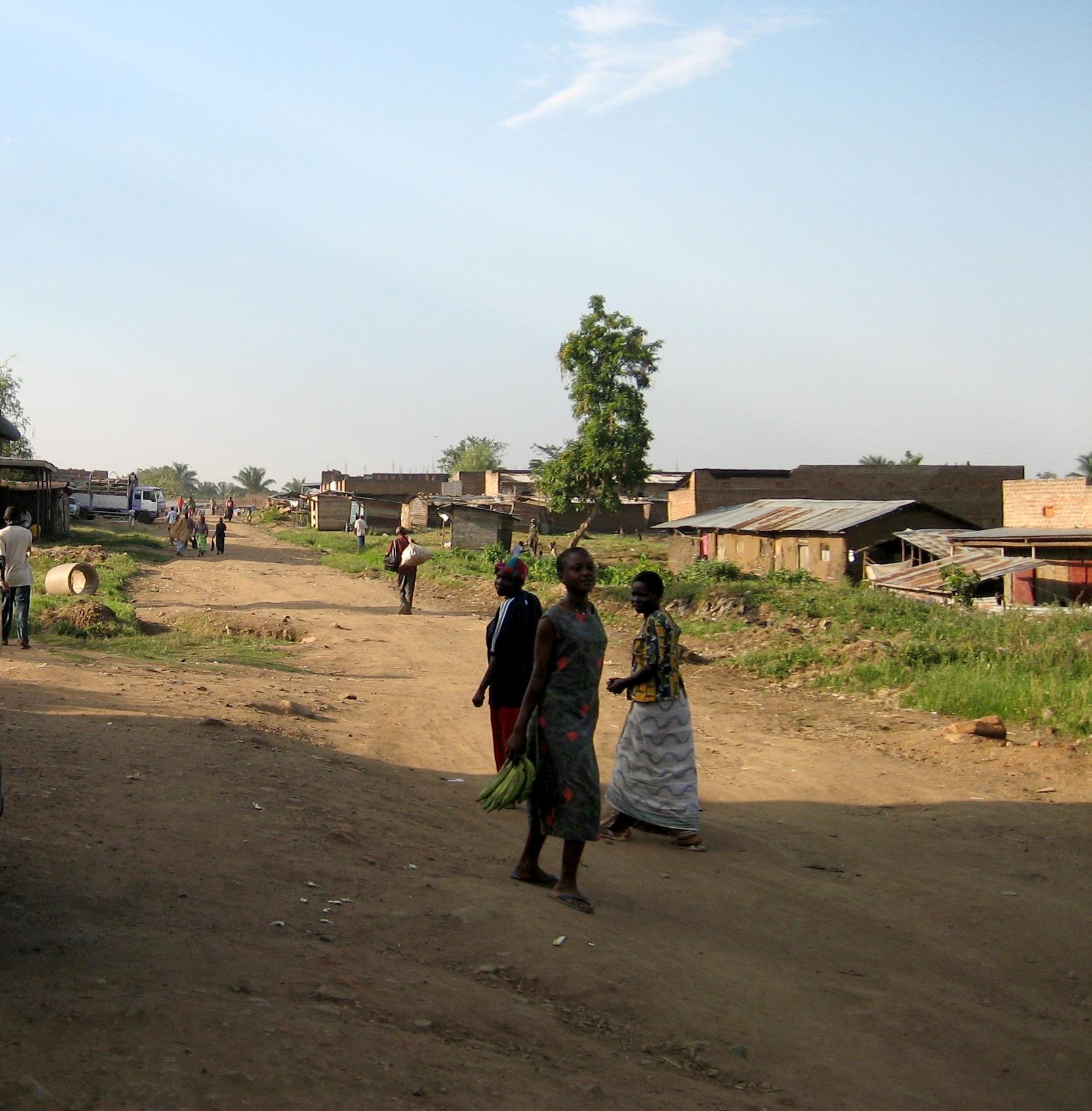 A side road inside the district capital, Bundibugyo.  Bundibugyo District ,Western Uganda