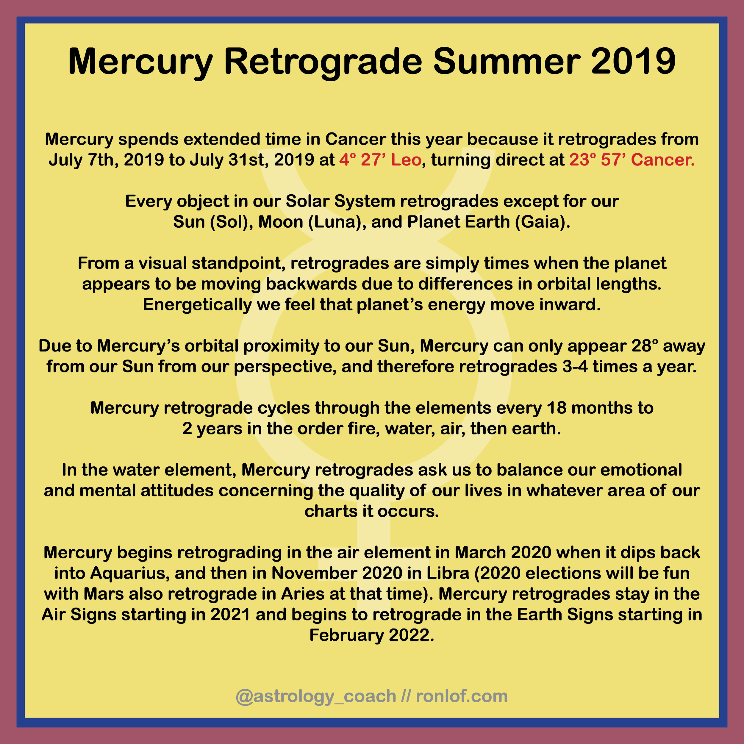 Mercury in Leo & upcoming retrograde — RonLof - Artist