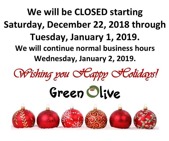 Happy Holidays from all of us at Green Olive! 🎄💥 We will see you all next year!
