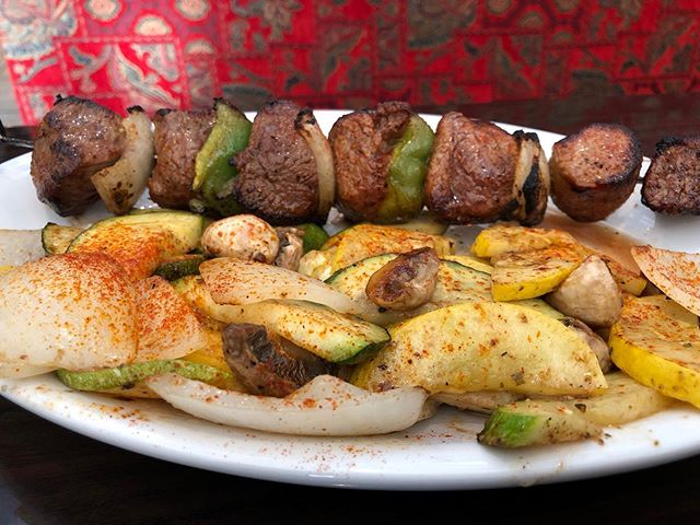 It is a lovely day for a lamb kebab!! 😋 Join us for lunch or dinner today!! Pictured: dinner portion extra veggies no rice . #greenolivesc #mediterraneanfood #turkishfood #eatfresh #eatlocal #supportlocal #southcarolina #colatown #sodacity #columbiasc #famouslyhot #colaeats #colatoday #allthingscolasc #columbiafoodies #foodporn #nationsbestbites #instafood #nomnom #hangryforhealth