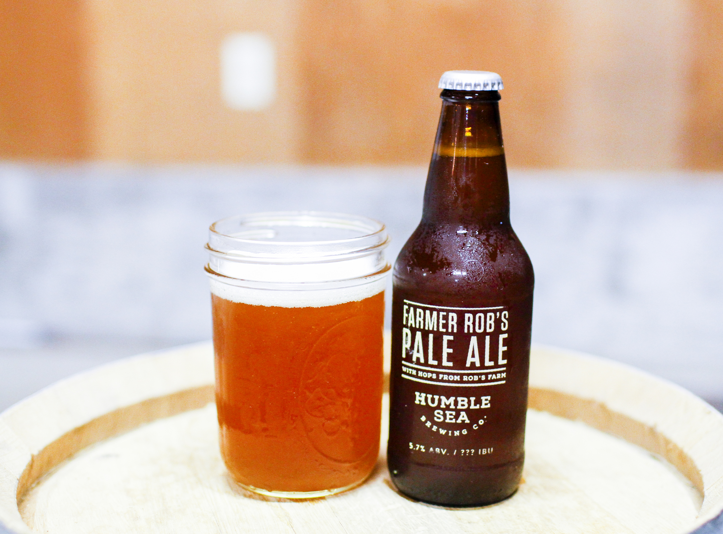 """""""Farmer Rob's Pale Ale"""", made with hops specifically from Rob's farm. Classic."""