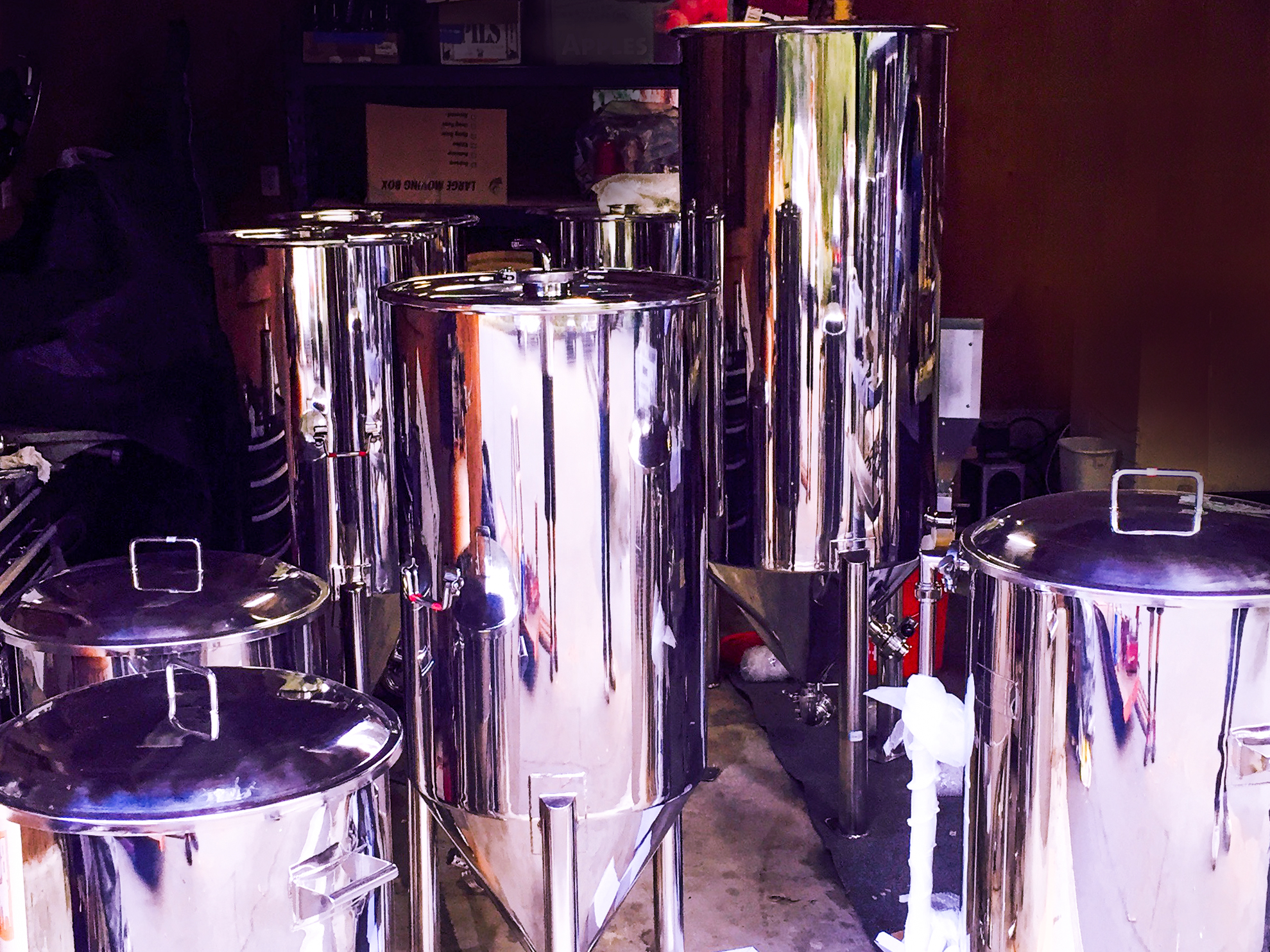 Our pilot brewing system, currently in shambles waiting for us to install it