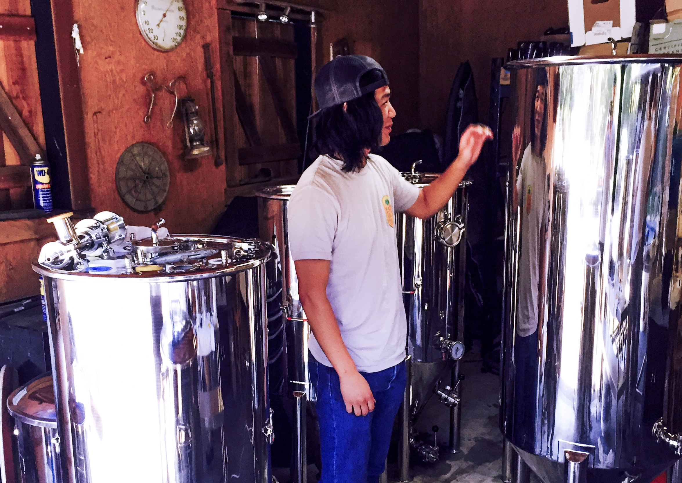 For scale we placed one of our favorite beer nerds, Rory McKee, next to our Pilot System (and to admire his reflection). It's not Sierra Nevada, but it's a start!