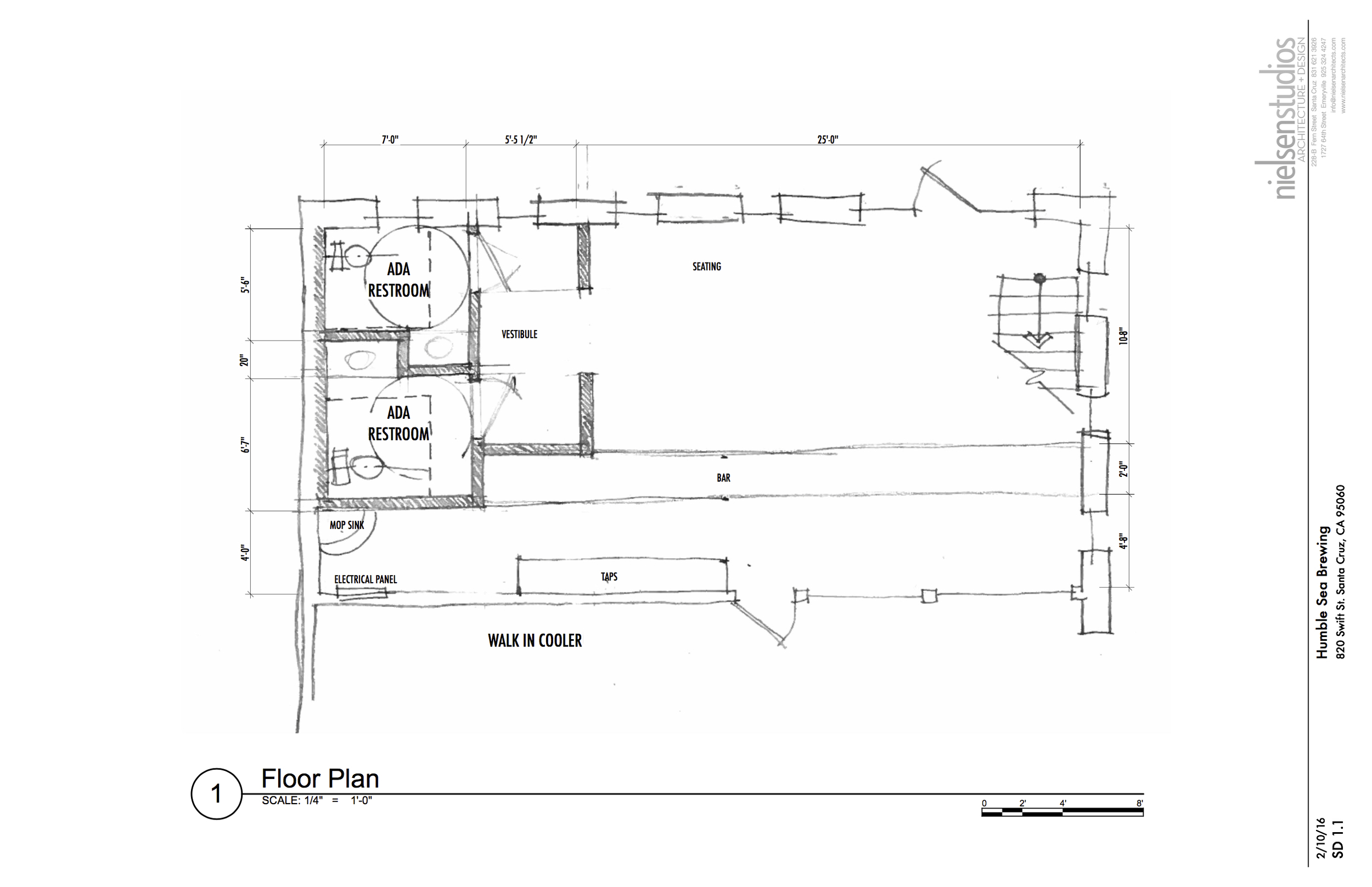 The very first sketches from Nielsen Architects of our tap room!