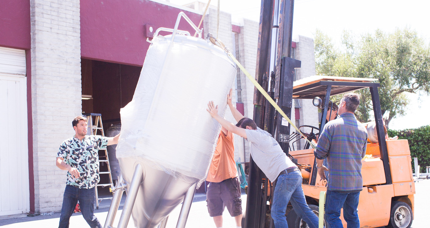 Unloading brewing equipment ourselves is... pretty dumb. But it takes money not to be dumb.