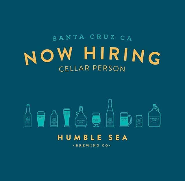NOW HIRING a full time cellar person. Our beer production is expanding and this is a vital role at Humble Sea — cellaring is a hugely important part of making great beer. We have a small, lean team in the brewhouse and we all work our asses off. A thorough understanding of the brewing process is required and professional brewing experience is a big plus. Email your resume and cover letter to beer@humblesea.com if you're interested. ⠀⠀⠀⠀⠀⠀⠀⠀⠀ Duties include: CIP fermentation tanks, brite tanks, and serving tanks. Keg cleaning, keg filling, dry hopping, general brewhouse maintenance/cleaning/organization, grain milling, barrel cleaning, canning and bottling. ⠀⠀⠀⠀⠀⠀⠀⠀⠀ If you know anyone who would be interested tag them here or send them this post!