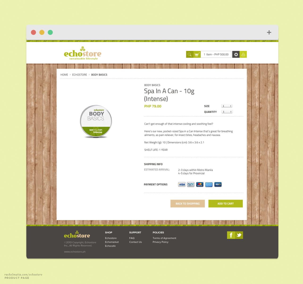 Echostore Product Page by Rachel Mutia