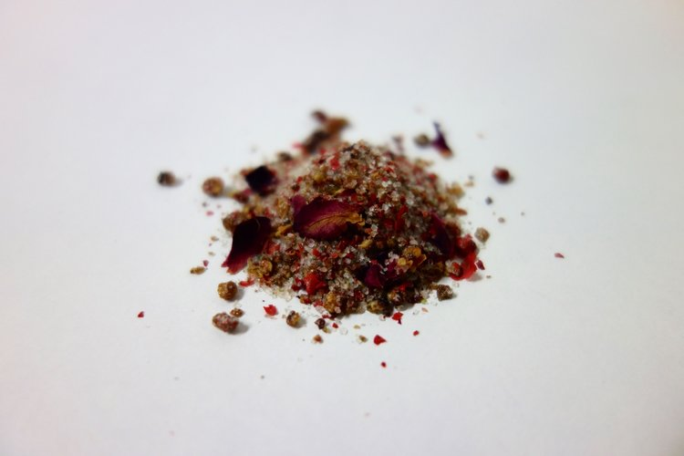 Spanish Rose   Pink salt and pink pepper packed with rose buds embodies the violent femininity of Bizet's Carmen. Coat the glass rim of a blood orange margarita, toss on hot french fries, or mix into honey to drizzle on a biscuit.  buy spanish rose