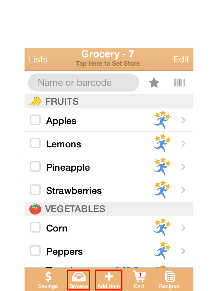 """You can add items to your Shopping list with either the """"BROWSE""""or """"ADD ITEM""""icon."""
