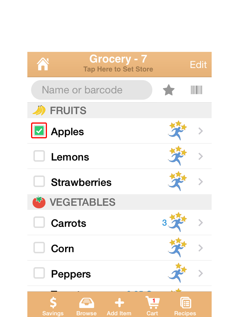 In the store, open your list. The items are organized in groups like the Aisles of a store. Check items off as you shop. Checked items go to the cart, so your list gets smaller as you shop!