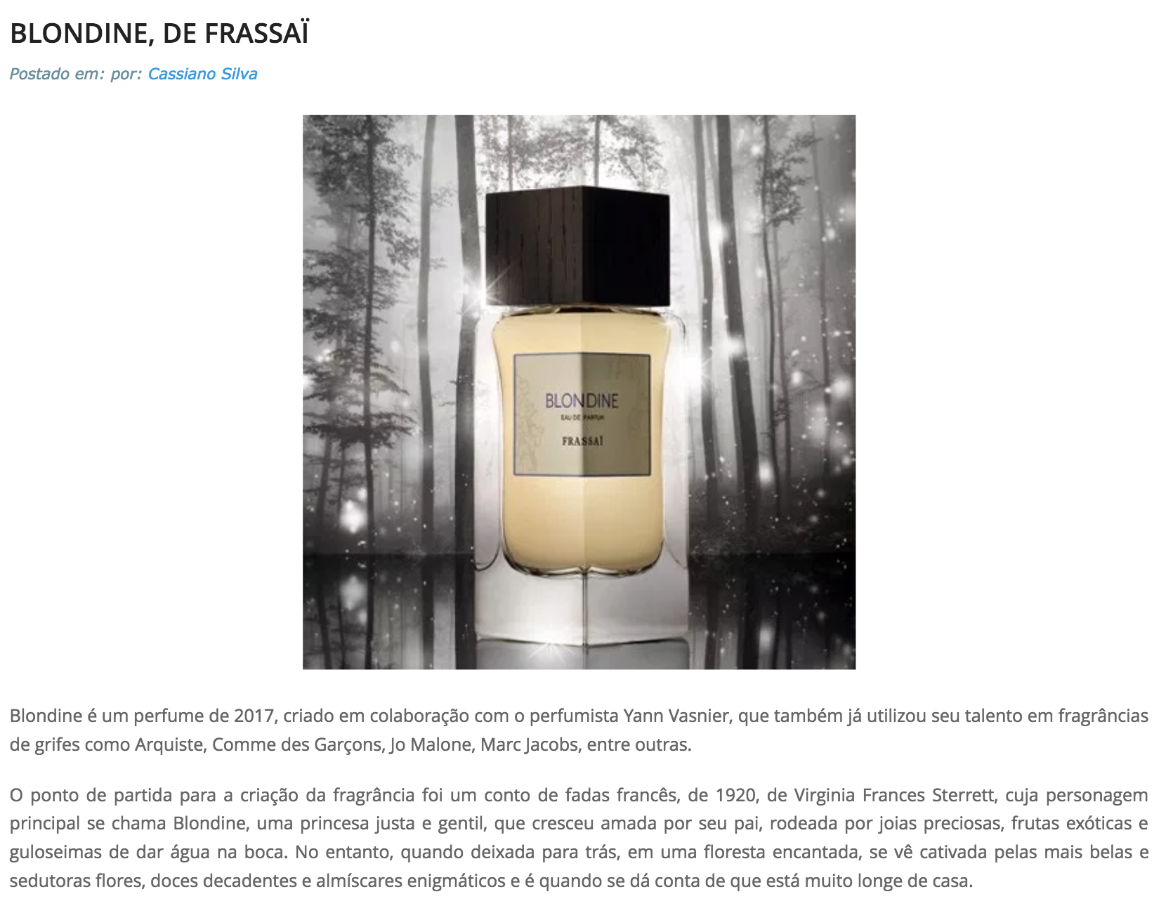 Frassai Blondine fragrance review by Perfumart Brazil