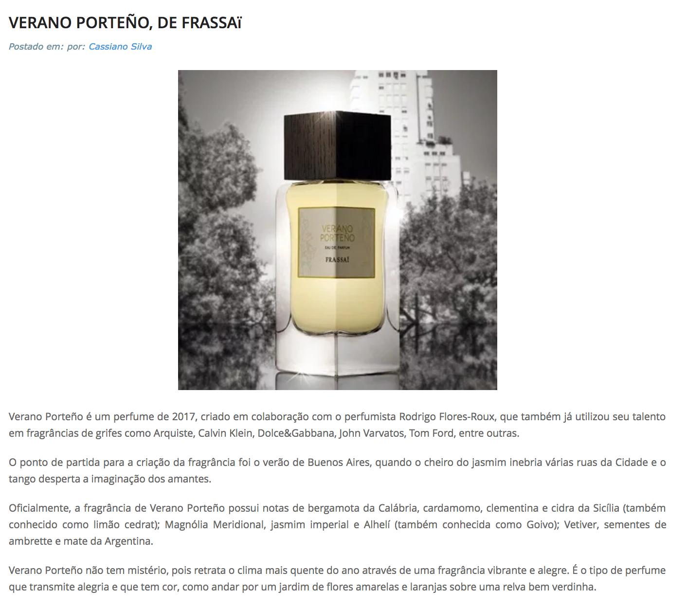 Frassai Verano Porteño Perfume review by Perfumart
