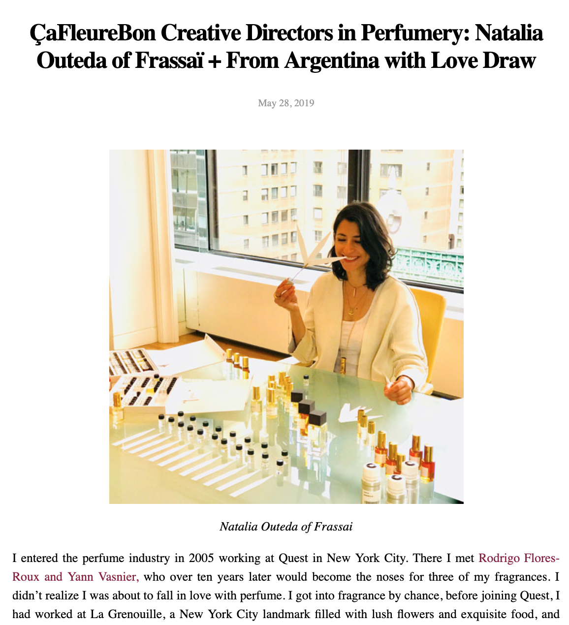 Natalia Outeda Frassai Perfume Creative Director Series Cafleurebon Fragrance Blog