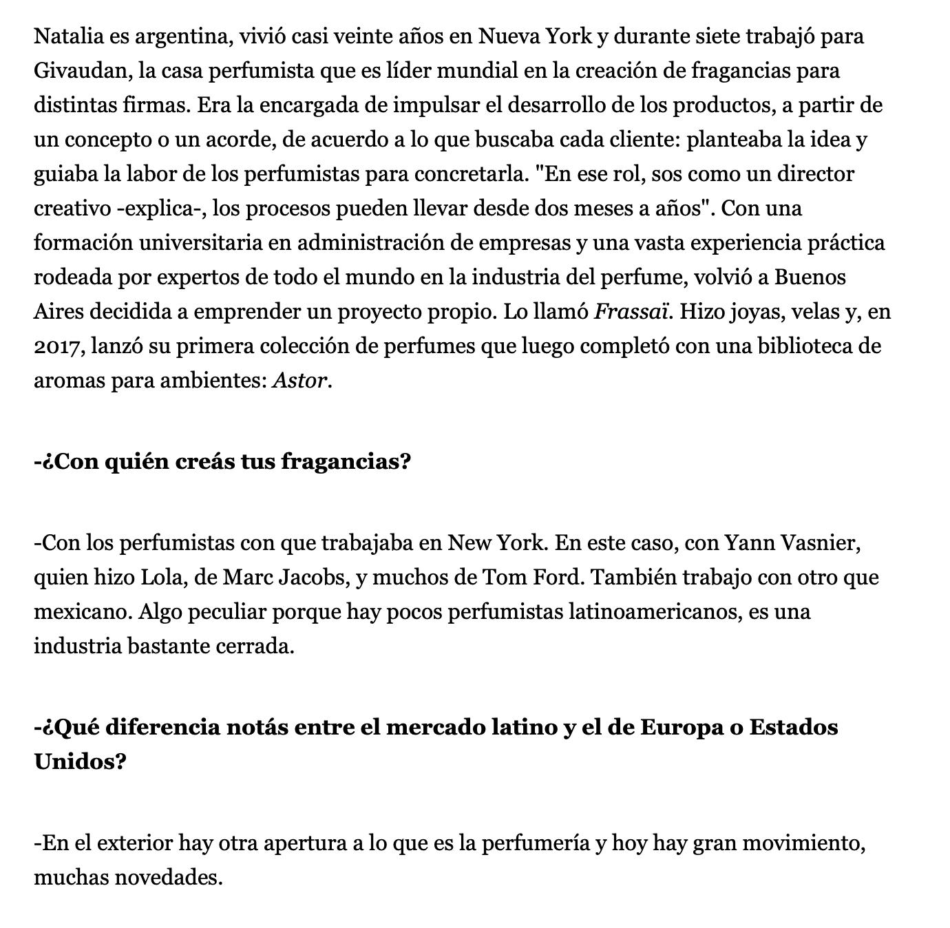 Natalia Outeda Perfumes FRASSAI La Nacion Moda & Belleza Agosto 11, 2019