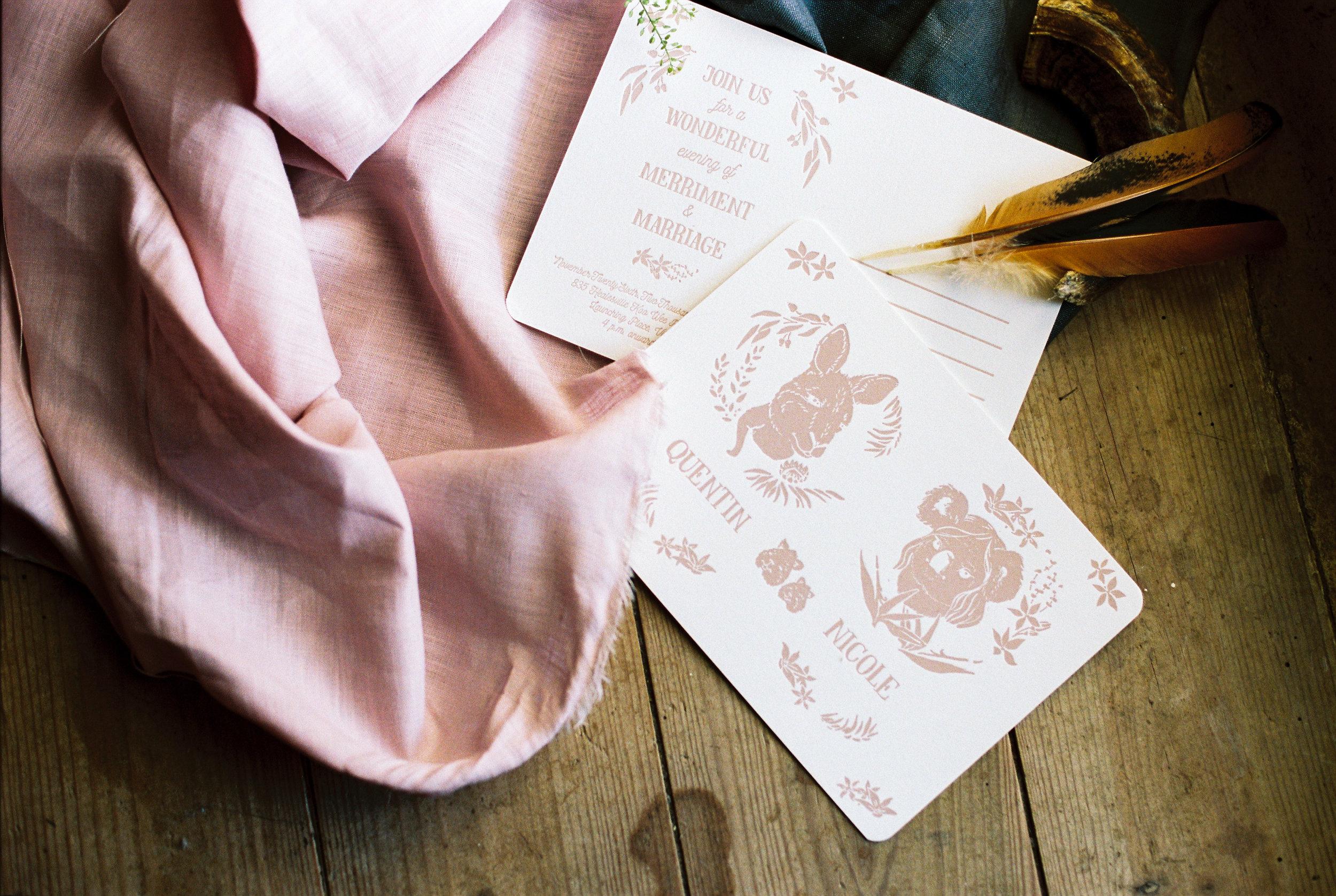Nicole y Quentin wedding invitations by Castelo Studio