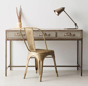 Glaston Trunk Desk $949; Vintage Steel Desk Chair $139