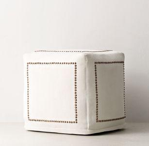 Classic Tack Linen Pouf $219